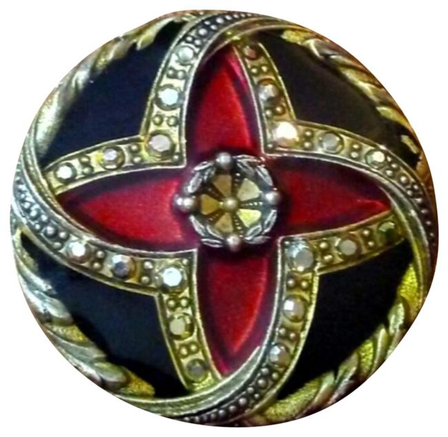 Item - Red Round Enamel Brooch Pin Signed New