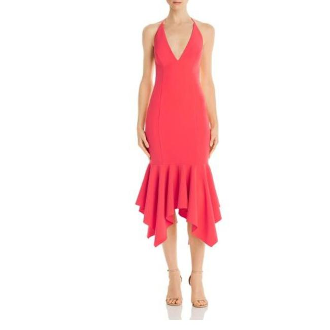 Item - Red Low-back Halter-neck Flounce Mid-length Night Out Dress Size 10 (M)