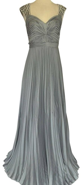 Item - Silver Women's Satin and Pearls Gown Long Formal Dress Size 4 (S)