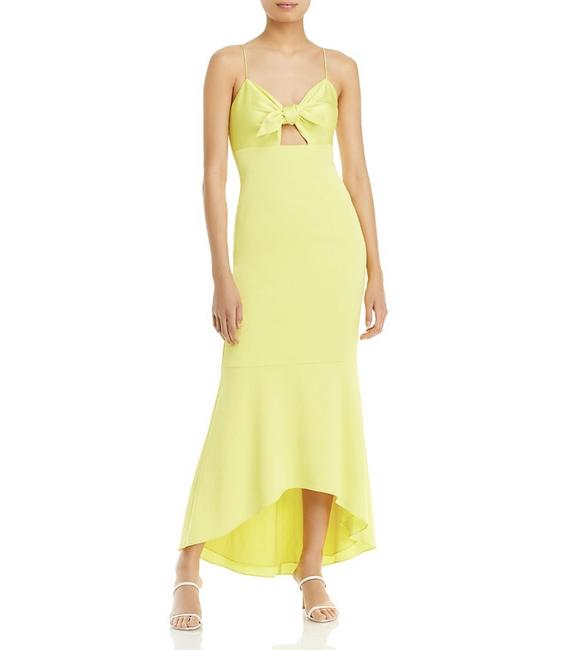 Item - Yellow Tie Front Midi Long Formal Dress Size 4 (S)