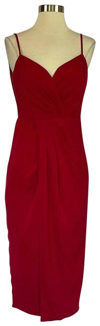 Item - Red Women's Small Chiffon Faux Wrap Midi Mid-length Cocktail Dress Size 4 (S)