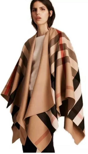 """Item - Camel Classic Check New """"Charlotte"""" Reversible Solid Wool Jacket Poncho/Cape Size OS (one size)"""