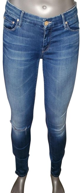 Item - Blue Medium Wash The Looker Stretch Distressed Skinny Jeans Size 29 (6, M)