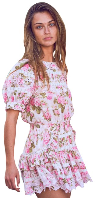 Item - Augustine Pink Printed Fence Short Casual Dress Size 8 (M)