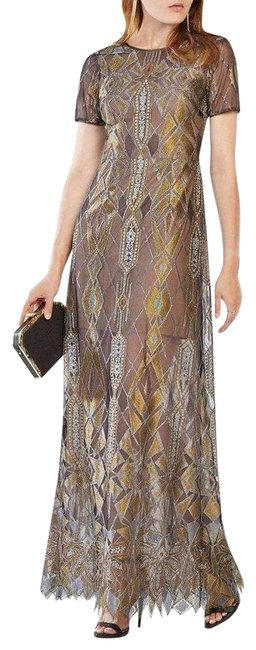 Item - Black & Gold Taliah Engineered Lace Gown Long Formal Dress Size 10 (M)