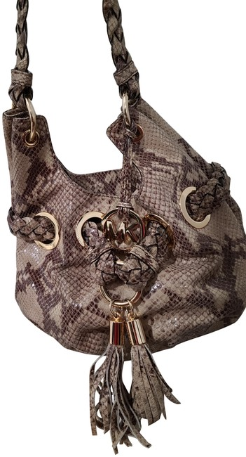 Item - Python Embossed Purse with Braided Handles and Tassels Beige Leather Hobo Bag