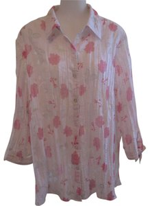 JM Collection Button Down Shirt White with Pink Floral design