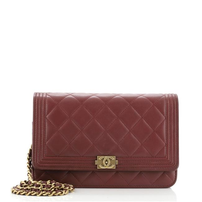 Item - Boy Wallet on Chain Quilted Lambskin Red Leather Cross Body Bag