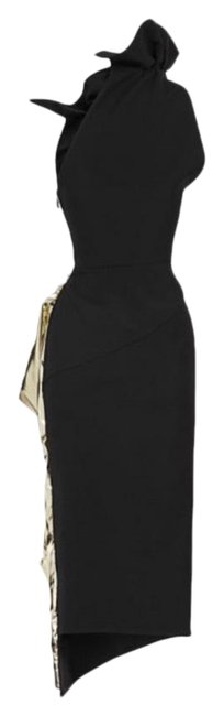 Item - Black and Gold Solar Mid-length Cocktail Dress Size 2 (XS)