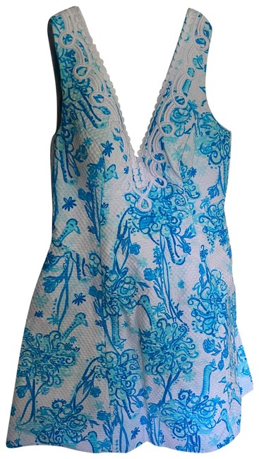 Item - Blue and White A Line Print Short Cocktail Dress Size 4 (S)