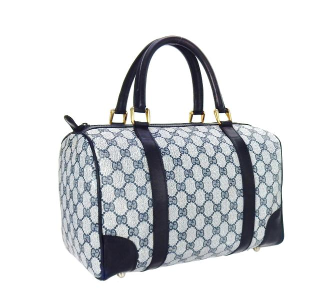 Item - Carry All Boston Vintage Top Handle Navy Blue Supreme Gg Monogram Canvas Leather Tote