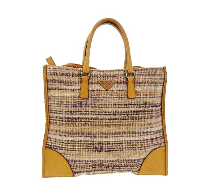 Item - Inglese Fiammat Brown Multicolor Tweed and Leather Tote