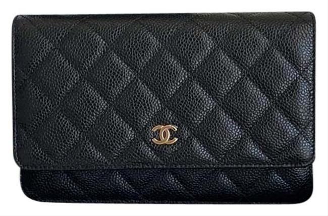 Item - Wallet on Chain Black Gold Hardware Caviar Leather Cross Body Bag
