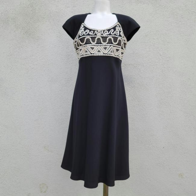 Item - Black with Cream Trim Vintage Embroidered Mid-length Cocktail Dress Size 8 (M)