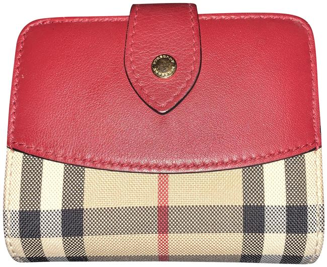 Item - Plum Tan Red Black White Horseferry Check Finsburry Wallet