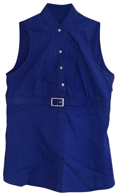 Item - Blue Sleeveless Snap Button Buckle Small Blouse Size 4 (S)