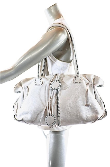 """Item - """"Hand Made"""" Domed White Pebble Leather Satchel"""