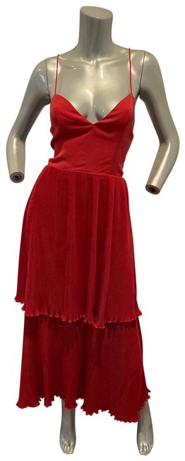 Item - Red Maxi Pleated Halter Long Cocktail Dress Size 4 (S)