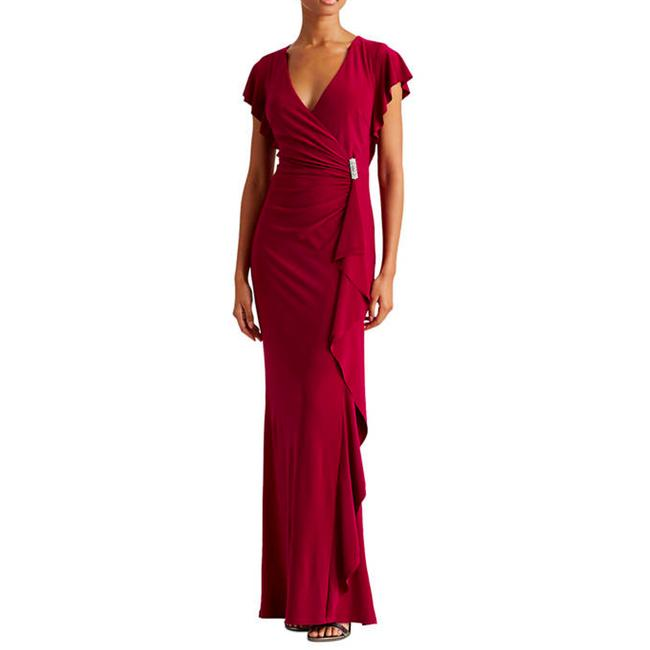Item - Red Flutter-sleeve Gown Long Maxi Formal Dress Size 2 (XS)