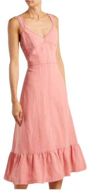 Item - Pink Lace-up Back Linen Mid-length Casual Maxi Dress Size 14 (L)