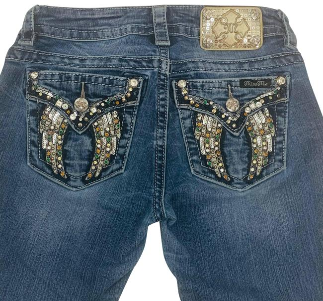 Item - Blue Medium Wash By Buckle Mid Rise Slim Embellished Wings Boot Cut Jeans Size 27 (4, S)