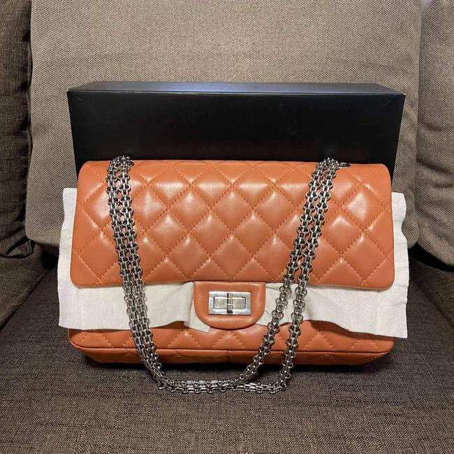 Item - Lamig Re Issue Brown and Silver Lambskin Leather Shoulder Bag