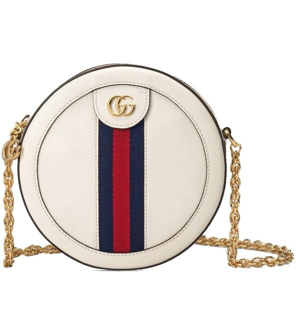 Item - Ophidia Round Shoulder New Mini White Leather Cross Body Bag