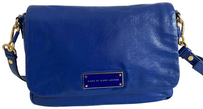 Item - Too Hot To Handle Lea Royal Blue Patent Leather Cross Body Bag