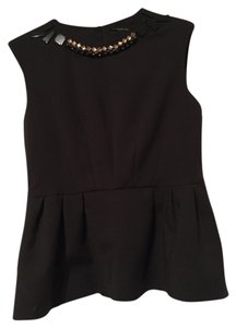 Zara Woman Jeweled Neck Peplum Top Black