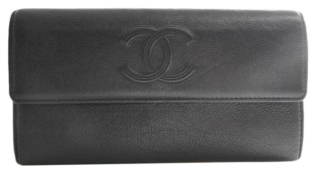 Item - Black Long Leather Coco Mark Wallet