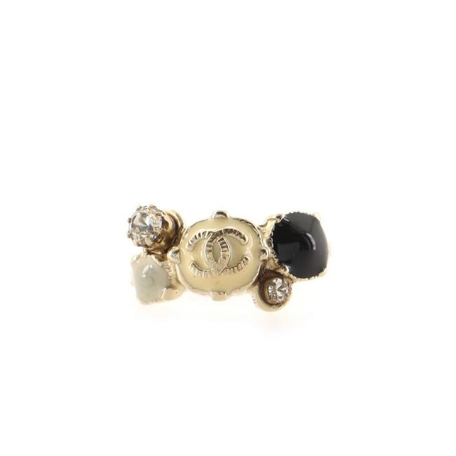 Item - Black Gold Neutral Cc Metal with Enamel and Crystals Ring