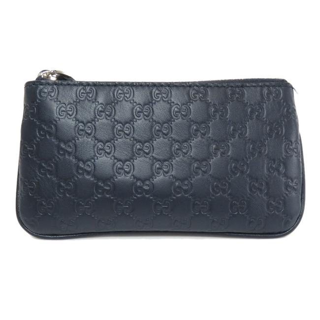 Item - Navy 544476 Micro Gg Coin Case Leather Ladies Wallet