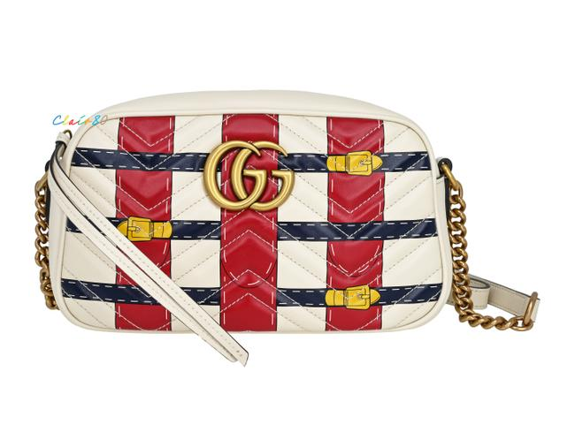 Item - Marmont Gg Trompe L'oeil Quilted Camera Off White Leather Cross Body Bag
