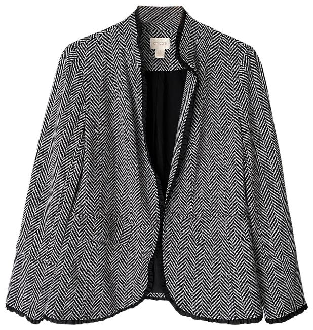 Item - Black and White Chevron Print Fully Lined Open Front Jacket Blazer Size 8 (M)