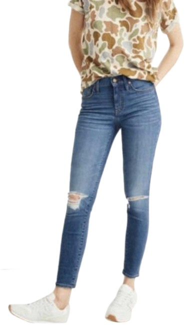 """Item - Blue Distressed 9"""" Mid Skinny Jeans Size 28 (4, S)"""