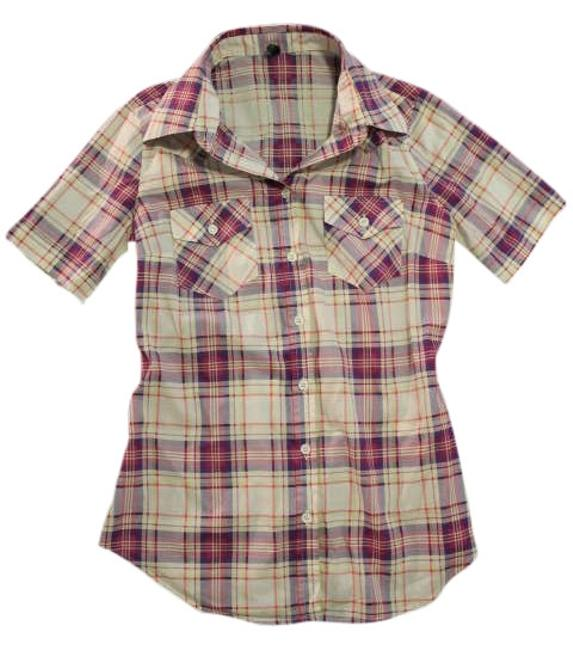 Item - Pink Plaid Short-sleeve Button Up Down Shirt Button-down Top Size 2 (XS)