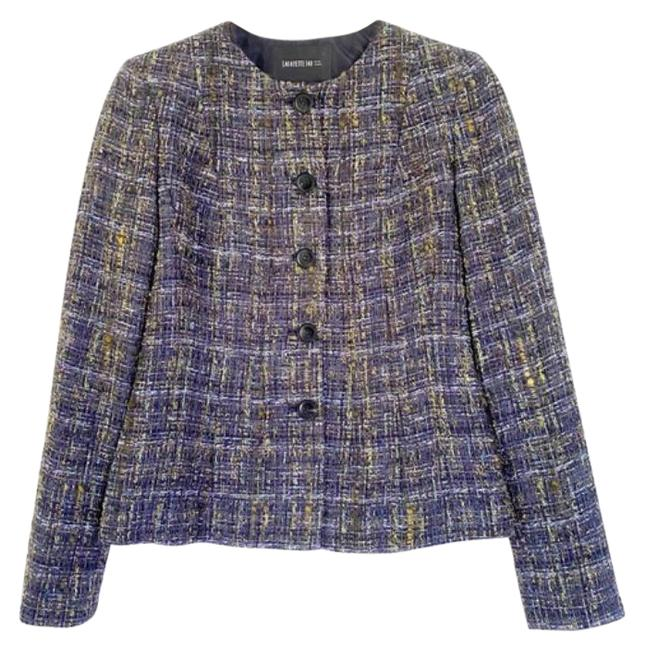Item - Blue Green Weed Button Front Cropped Jacket Blazer Size 0 (XS)