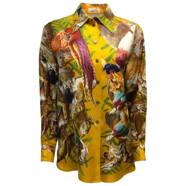 Item - Goldenrod Gibiers Printed Long Sleeved Silk Blouse Size 8 (M)