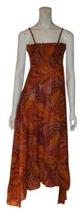 Paisley red, orange, pink, cream Maxi Dress by Earthbound Company Never Been Worn