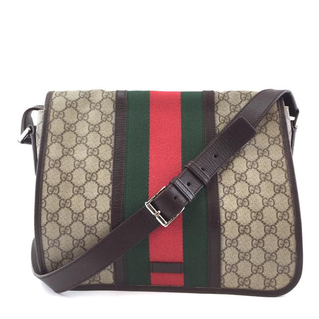 Item - Messenger #42708 Rare Gg ssima Web Supreme Brown Green Red Canvas and Leather Cross Body Bag