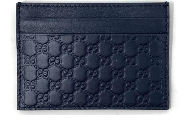 Item - Navy New Micro ssima Monogram Gg Logo Leather Card Holder Wallet