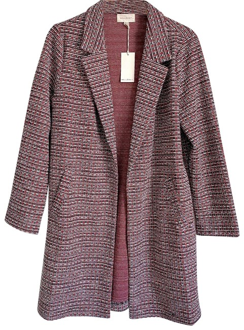 Item - Red Melloday Plaid Tweed Open Front Topper Coat Jacket Size 8 (M)