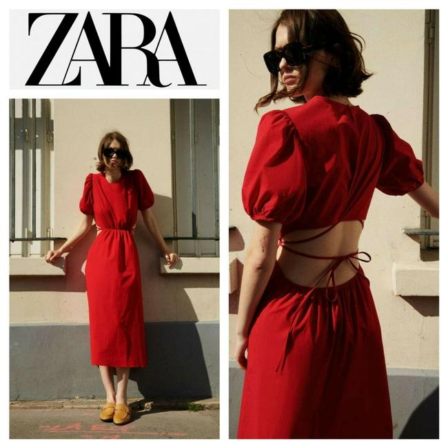 Item - Red Cut Out Poplin Puff Sleeves Mid-length Casual Maxi Dress Size 12 (L)
