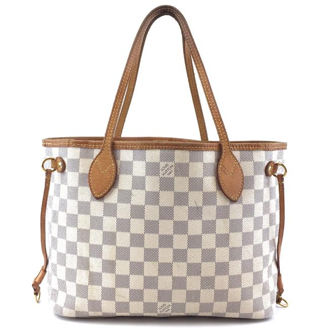 Item - Neverfull Neo #42735 Nm New Model Pm Tote Work Everyday White Grey Damier Azur Canvas Shoulder Bag