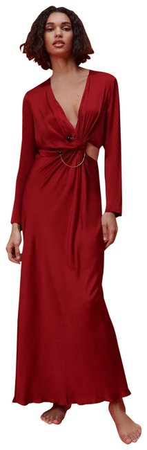 Item - With V-neckline and Sleeves. Front Ruching Detail with Metal AppliquÉ and Slit. Back Hidden Zip _ Long Night Out Dress Size 12 (L)