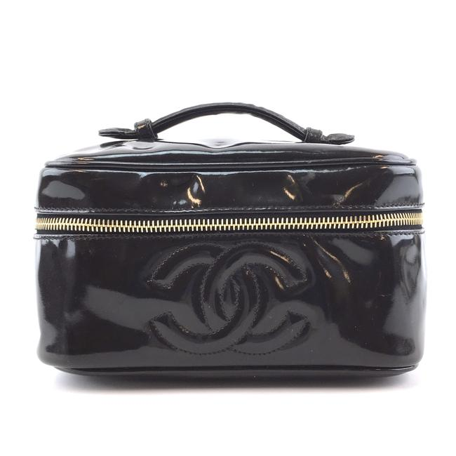 Item - #42770 Rare Cc Case Cosmetic Vanity Beauty Black Patent Leather Clutch