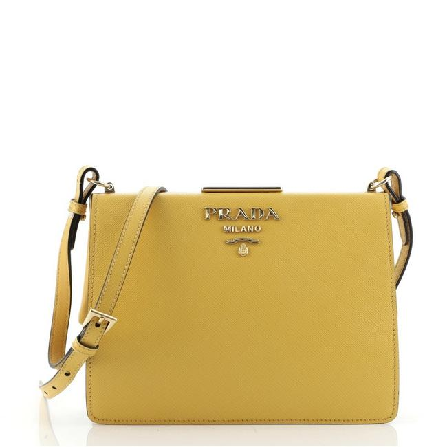Item - Light Frame Saffiano Small Yellow Leather Shoulder Bag