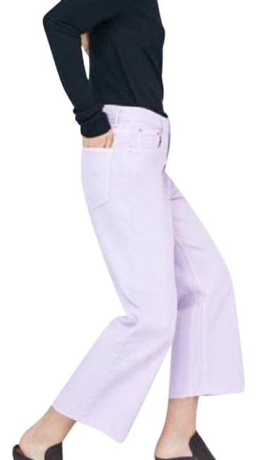 Item - Lavender Light Wash Button Fly Cropped Frayed Straight Leg Jeans Size 28 (4, S)