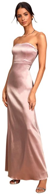 """Item - Dusty Lavender Satin """"these Are The Nights"""" Long Formal Dress Size 6 (S)"""