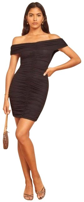 Item - Black Sabine Off Shoulder Ruched Mini Small Short Night Out Dress Size 4 (S)